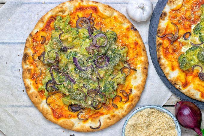 Broccoli Cheese Vegan Pizza