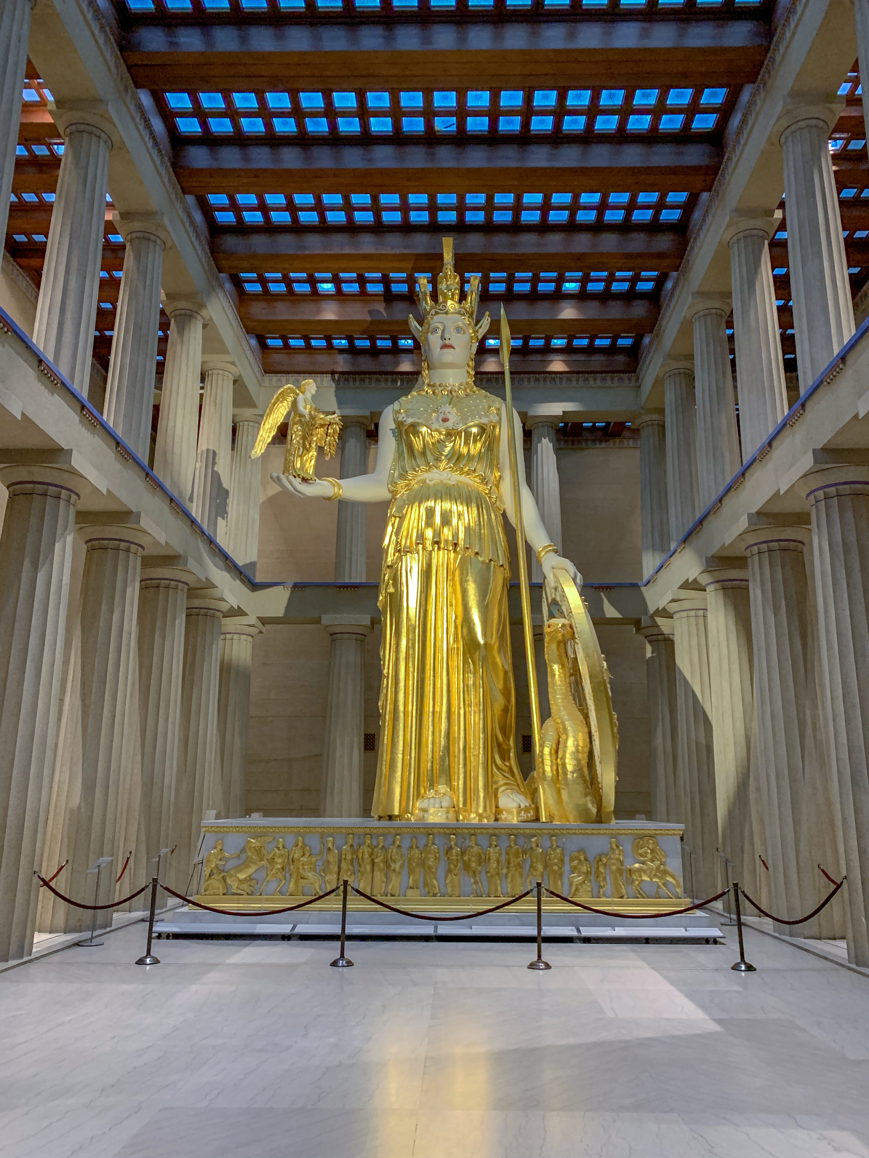 A statue of Athena at The Parthenon in Nashville, Tennessee.