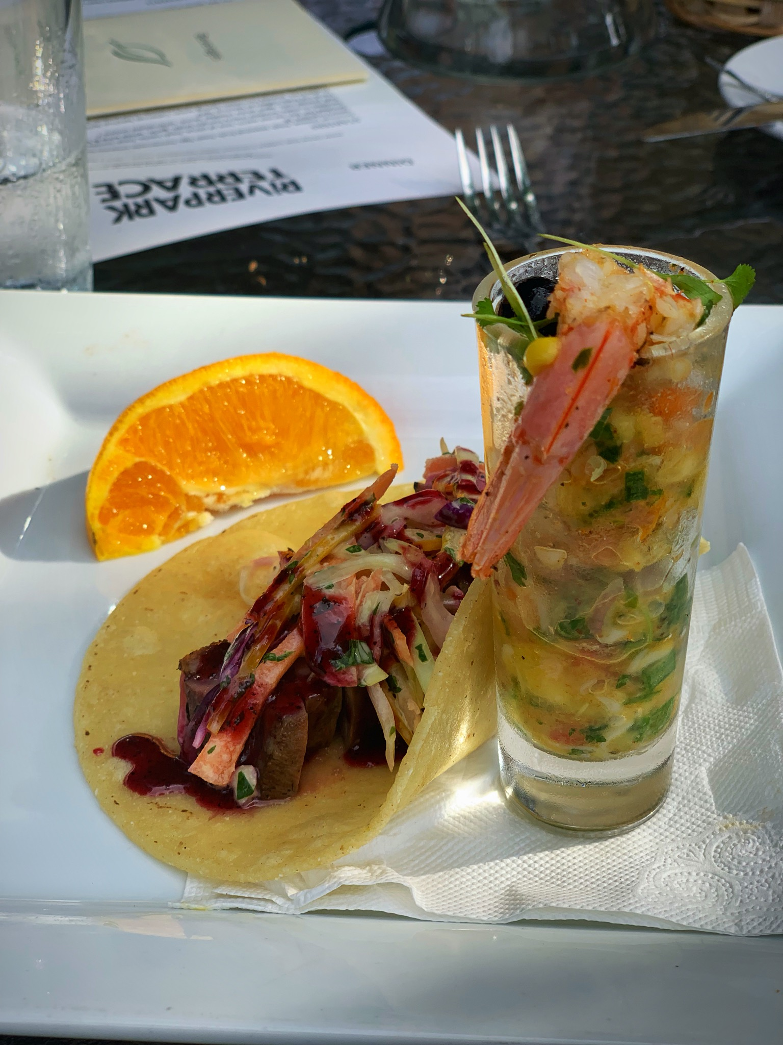 Duck Taco and Shrimp Ceviche