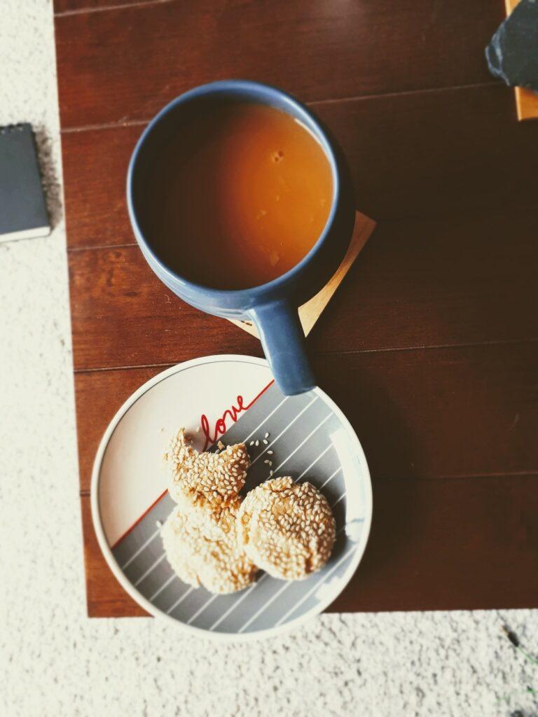 Tahini cookies and tea.