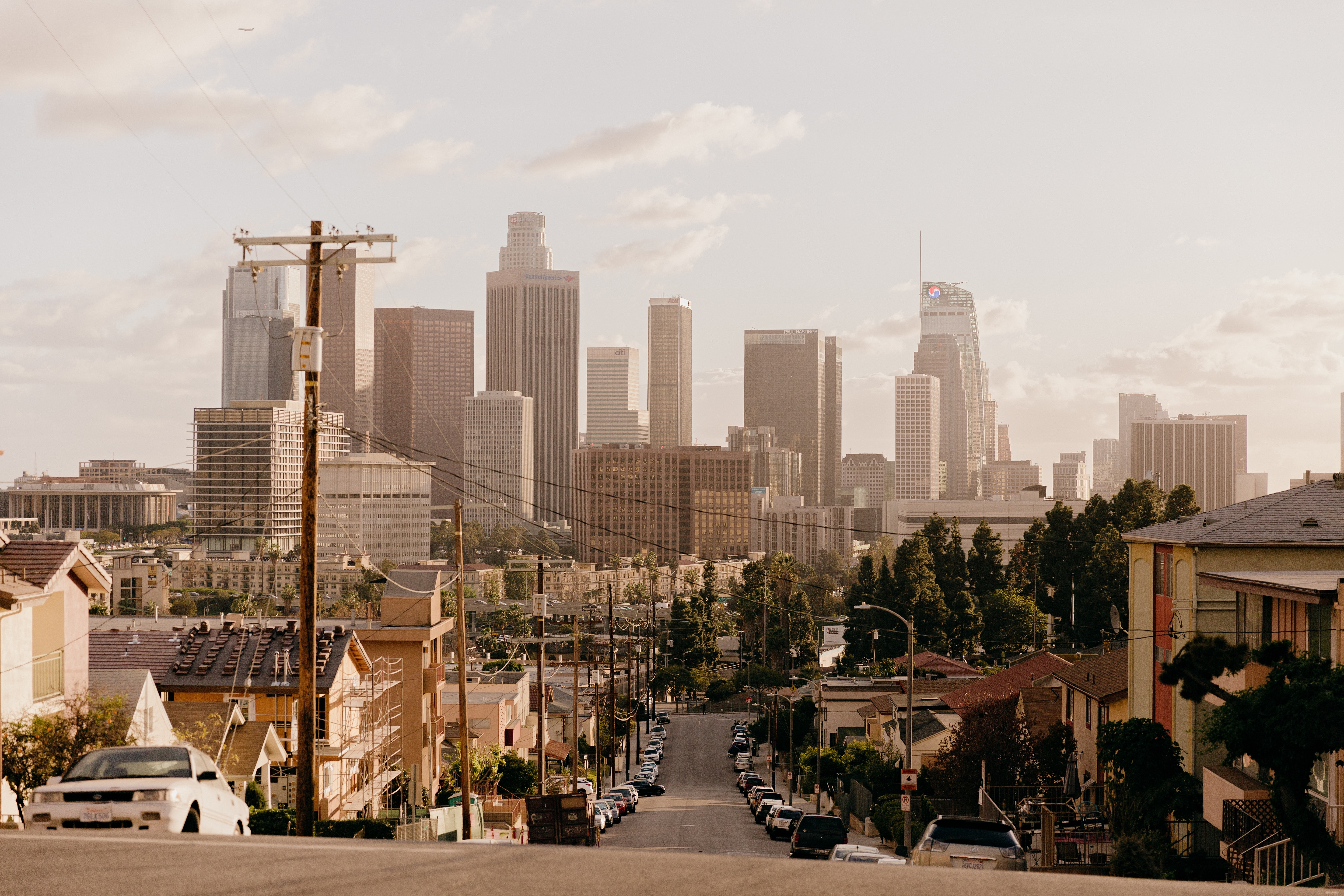 View of Downtown LA from a neighbourhood