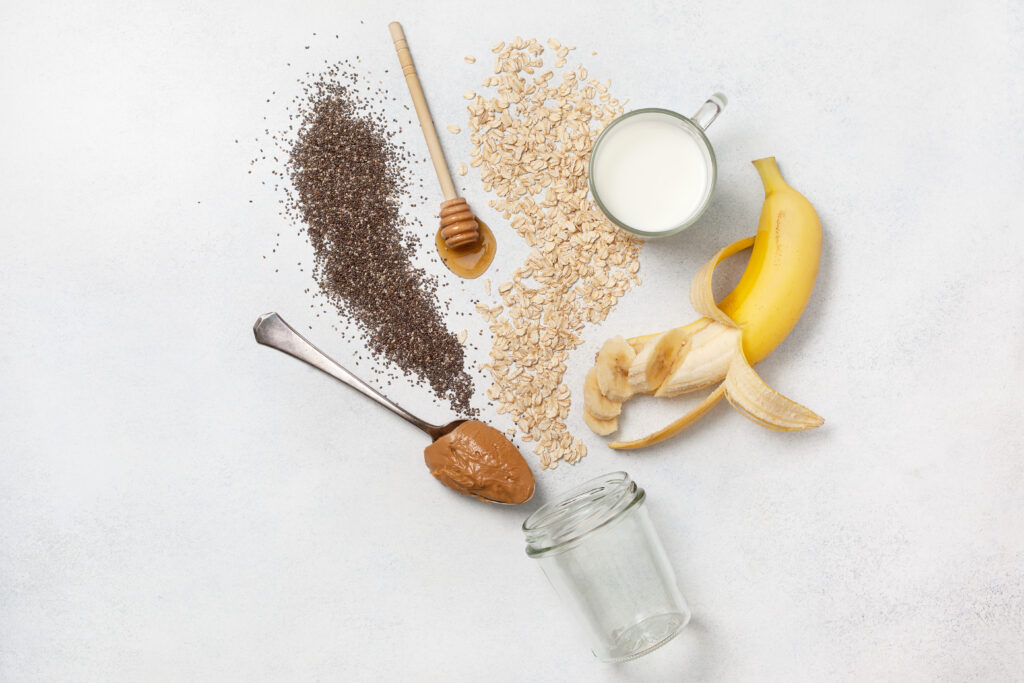Ingredients for night oatmeal with bananas, chia seeds