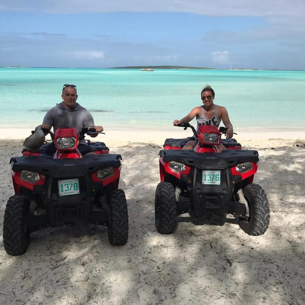 Couple riding ATVs at Exuma Island